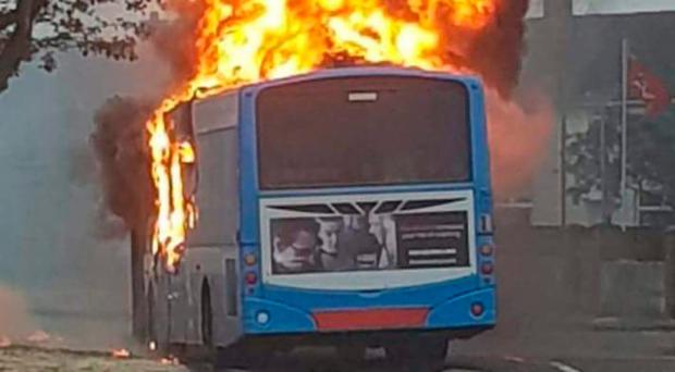 A bus which was set on fire in Newtownards