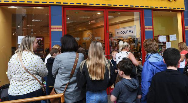 The Build-A-Bear store in Victoria Square shopping centre, which was forced to close yesterday after hundreds of people queued outside to take advantage of the 'pay-your-age' offer