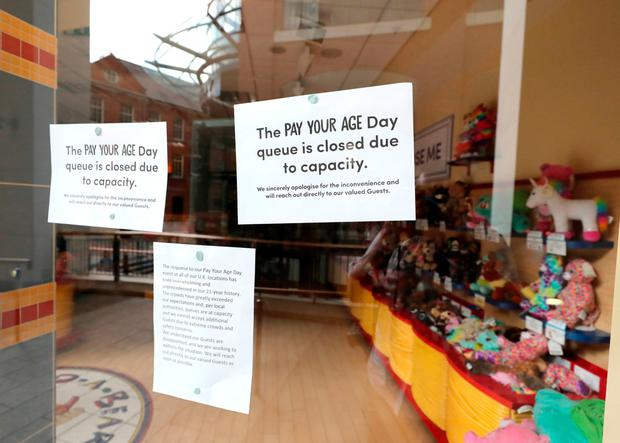 A poster that was later put up on the window of the Belfast shop