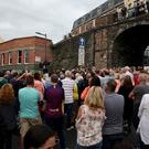 Crowds attended a rally in protest at the ongoing violence (Brian Lawless/PA)