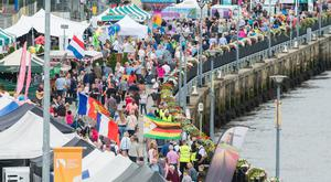 Some of the thousands who packed the city's quayside on Saturday for the Maritime Festival
