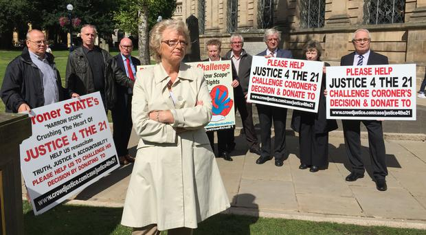 Julie Hambleton and other Birmingham pub bombings campaigners from the Justice4the21 group (Richard Vernalls/PA)