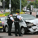 A road crash involving two taxis and a van caused severe traffic disruption at the Millfield and Peter's Hill junction in Belfast yesterday
