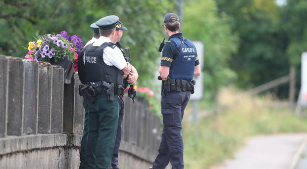 PSNI and gardai in Belleek yesterday
