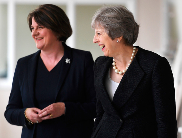 Prime Minister Theresa May and DUP leader Arlene Foster visit Belleek Pottery in Co Fermanagh yesterday