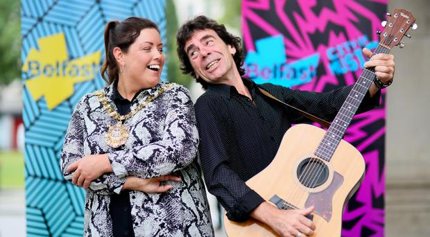 Deirdre Hargey with singer Davy Watson