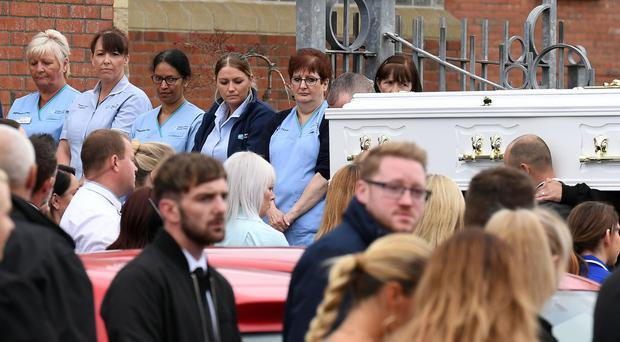 Colleagues pay their respects at the funeral of Seaneen McCullough