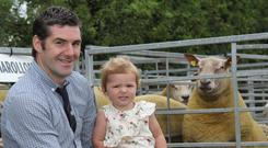Sheep exhibitor Trevor Bell and daughter Clara from Combe