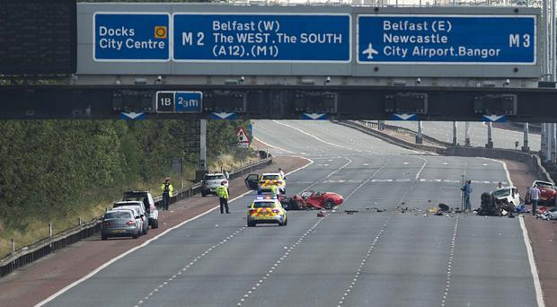 Police at the scene after yesterday's crash