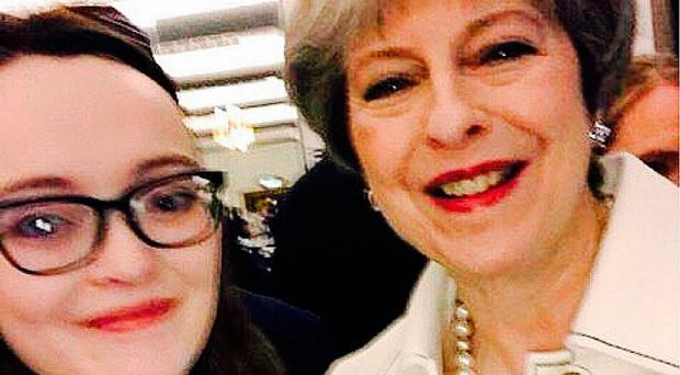 Aine Lagan with Theresa May