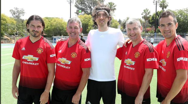Gary Lightbody with Bryan Robson (second left) and Denis Irwin (second from right)
