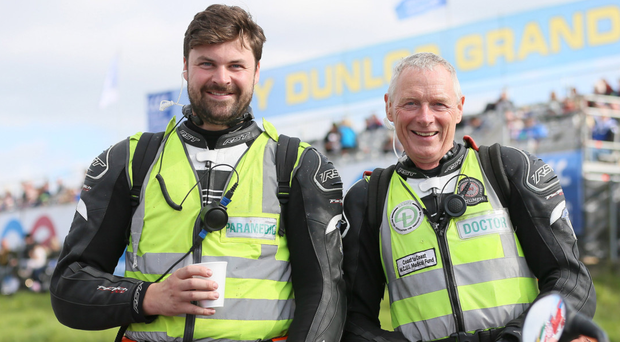 Motorbike race paramedic Allister McSorley with his father Fred. Allister is critical but stable in the Royal Victoria Hospital after an accident at the Armoy Road Races on Saturday