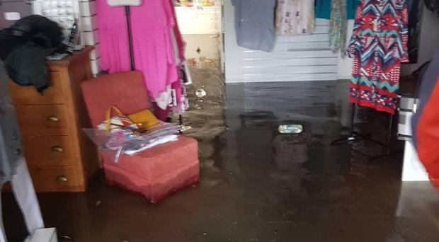 Flood damage to The Good Room in Dromore