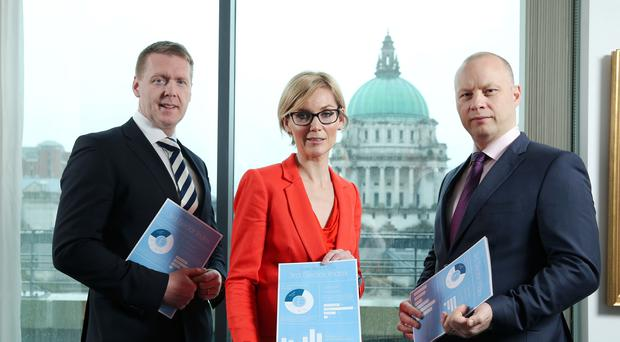 Mark Crimmins, Ulster Bank, Nora Smith, Chief Executive at CO3, and Richard Ramsey, Chief Economist, NI, at Ulster Bank (Handout/CO3/PA)