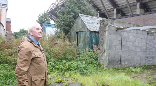 Resident William Dickson at the rear of the properties on Olympia Drive backing on to Windsor Park
