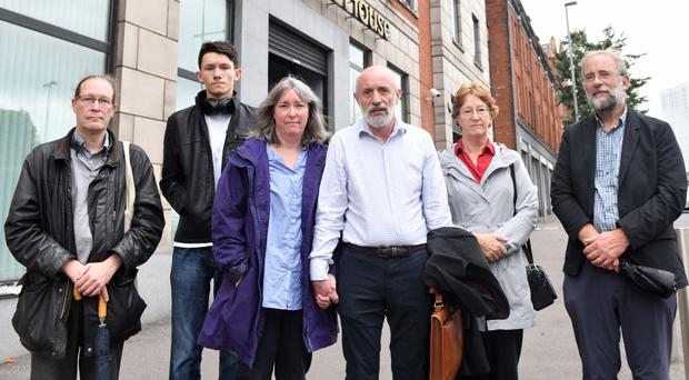 Attending the preliminary hearing yesterday were family members, from left: Graham Cawdery, son; Alexander (son of Charles and Wendy); daughter Wendy Little Cawdery; son-in-law Charles Little; daughter Shirley Nelson and her husband Brian
