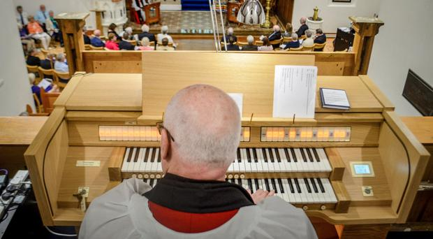 Rev Canon Paul Hoey performing on the new Makin organ, which will feature in the 12-hour music event