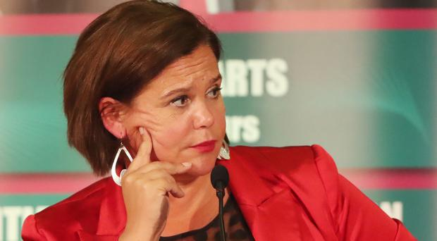 The exchange between Ms McDonald and Mr Hamilton came on Tuesday evening during the Leaders Debate at the West Belfast Festival (Niall Carson/PA)