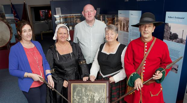 Roisin Doherty, curator, Museum Services, DCSDC, with Billy Moore, Siege Museum, Norman Rosborough, Donna Best and Valerie Moore in period costume
