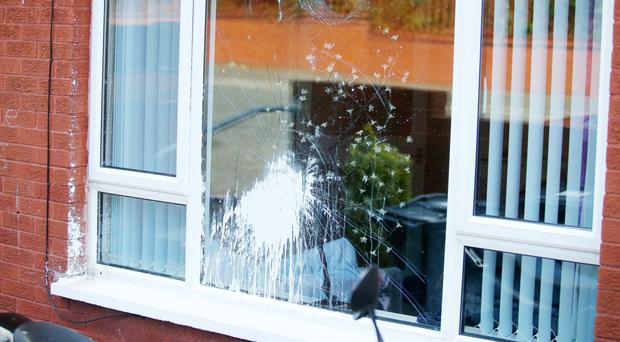A house in Manor Street in north Belfast where paint was thrown over a window