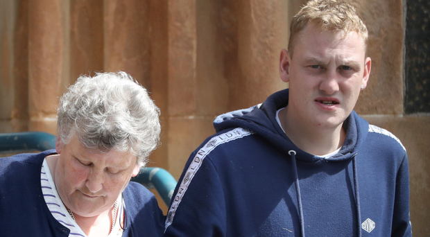 Adam Gilmour's gran Marlene Hanna and cousin Steven Johnston at yesterday's inquest