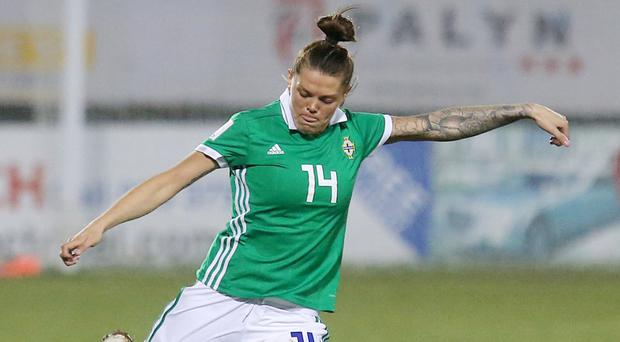 Billie Simpson in action for Northern Ireland