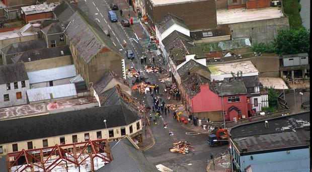 An aerial shot shows the devastation caused by the Omagh bombing (Ministry of Defence/PA)