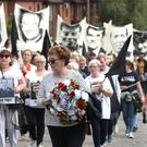 Relatives of those killed in the Ballymurphy massacre take part in the March for Truth event yesterday