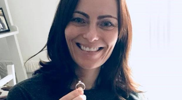 Nichola Mallon shows the engagement ring she lost 18 months ago