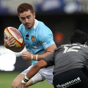 Perpignan's Paddy Jackson in action