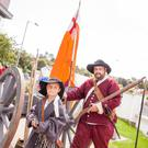 Oliver Ward (left) gets dressed up in period costume with Andy Mattison at last year's Boyne event