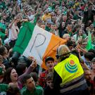 A tricolour with IRA written on it was displayed during a Wolfe Tones concert at the West Belfast Festival last week