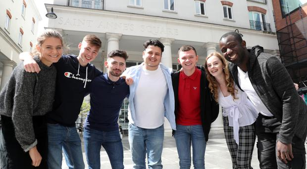 Lara Spirit from Chichester, Piers Smith from Belfast, Chris Mc Caffrey from Belcoo, Leo Mulholland from Belfast, Aaron Hughes from Belfast, Doire Finn from Newry and Femi Oluwole at The MAC in Belfast yesterday.