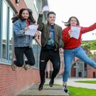 Triplets Nancy, Jack and Hannah Eaton after getting their A-level results at Lagan College