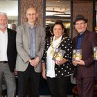 From left: Chair of Belfast International Arts Festival Professor Jackie McCoy; chairman of Tourism NI Terence Brannigan; artistic director of Belfast International Arts Festival Richard Wakely; Belfast Lord Mayor Deirdre Hargey; head of drama and literature at Arts Council NI Damian Smyth, and director of British Council Jonathan Stewart launch the 2018 Programme at the Grand Central Hotel
