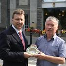 John Maguire and Fergus Cleary with a Belleek Basket