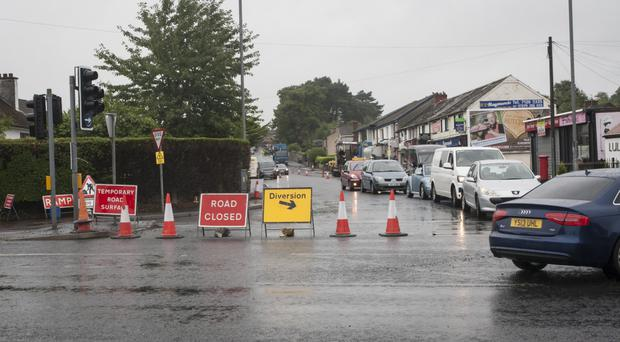 Ongoing roadworks on Racecourse Road