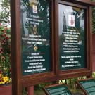 The new memorial unveiled during a 30th anniversary service for eight soldiers killed in the Ballygawley bus bombing in Northern Ireland. Michael McHugh/PA.