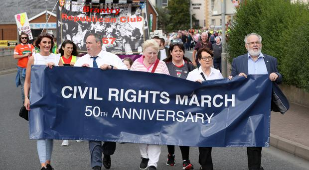 Civil Rights marchers including Sinn Fein's Michelle Gildernew and Francie Molloy on Saturday