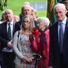 Relatives, survivors and servicemen taking part in yesterday's service