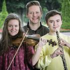 Ulster Youth Orchestra principal violinist, Suzie Griffin, principal clarinettist, Russell Coates and Ciaran Scullion, Arts Council at the rehearsals
