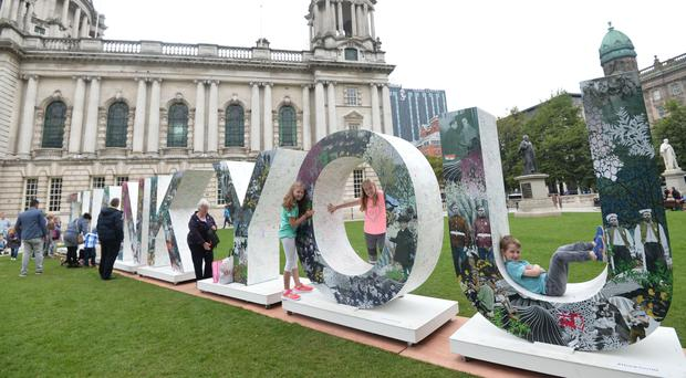 A 8ft-high 3D art installation spelling out the words Thank You arrives in Belfast yesterday