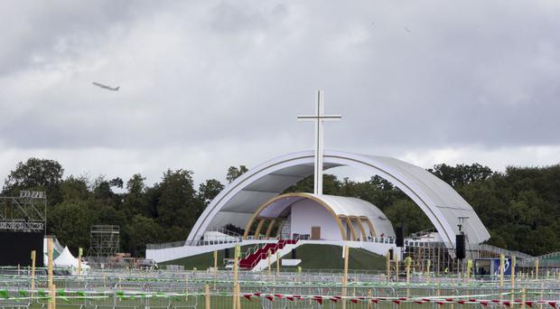 The papal cross and altar in Dublin's Phoenix Park, where Pope Francis will celebrate Mass on Sunday