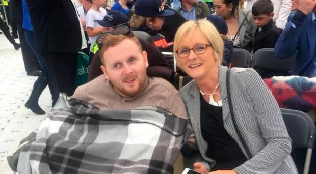 Declan McMullan with his mother Brenda at Croke Park in Dublin, where he received a blessing from Pope Francis