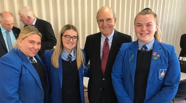 The schoolgirls with George Mitchell