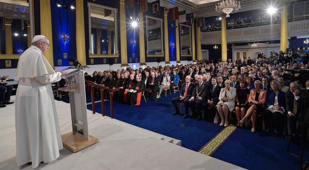 Pope Francis speaking in St Patrick's Hall in Dublin Castle