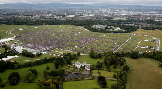 An aerial view of the crowd at Phoenix Park in Dublin as Pope Francis attended Sunday's closing Mass at the World Meeting of Families