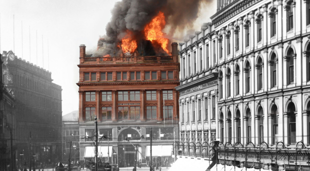 The blaze has claimed one of Belfast's most iconic commercial buildings