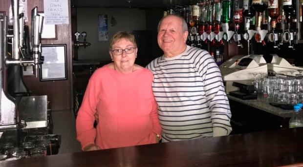 Ann and Jim Bain at the Linfield Bar