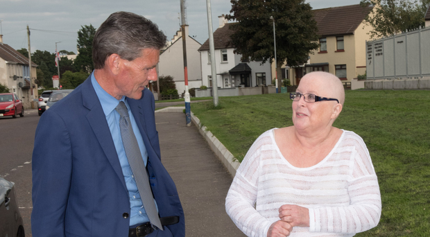 Mayor of Derry and Strabane John Boyle with Norma at her home yesterday